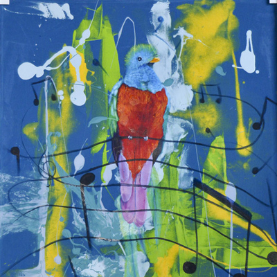 Blue and yellow painting of a bird