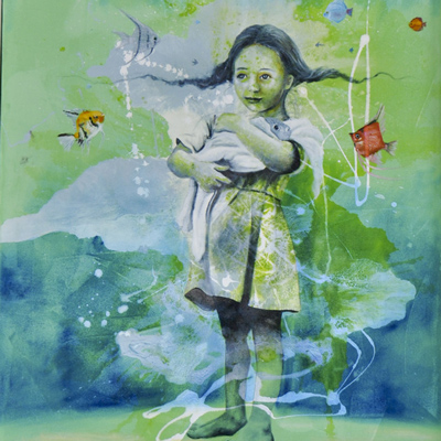Green and blue painting of a girl