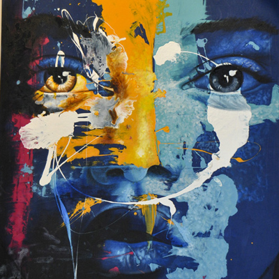 Blue and yellow painting of a face closeup