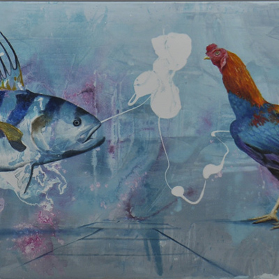 Painting of a fish and a chicken