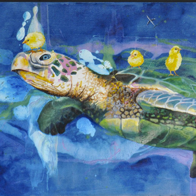 Painting of a sea turtle with ducklings on its back