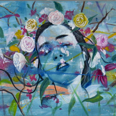 Blue painting of a woman's head among the flowers