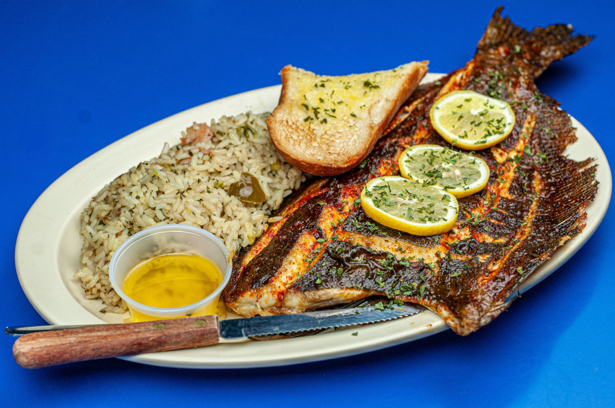 broiled flounder, shrimp rice, garlic toast