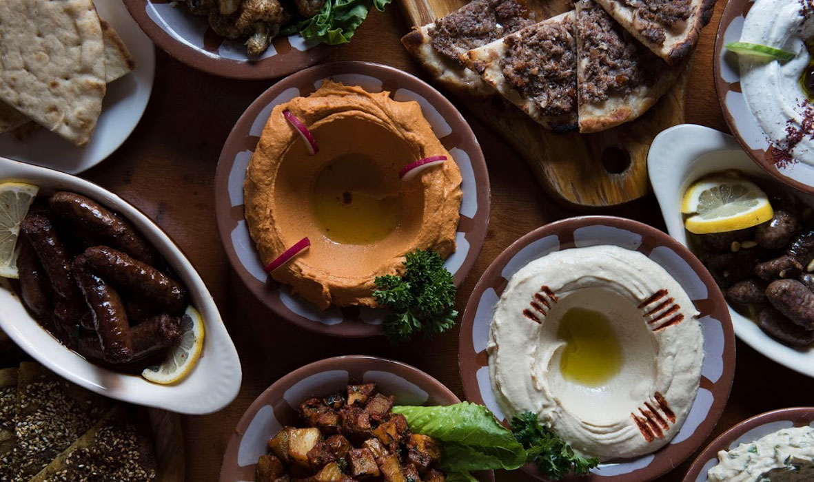 Lebanese dishes on the table