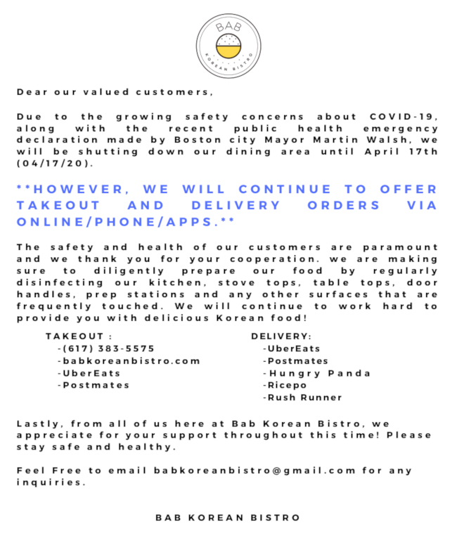 bab korean bistro info flyer