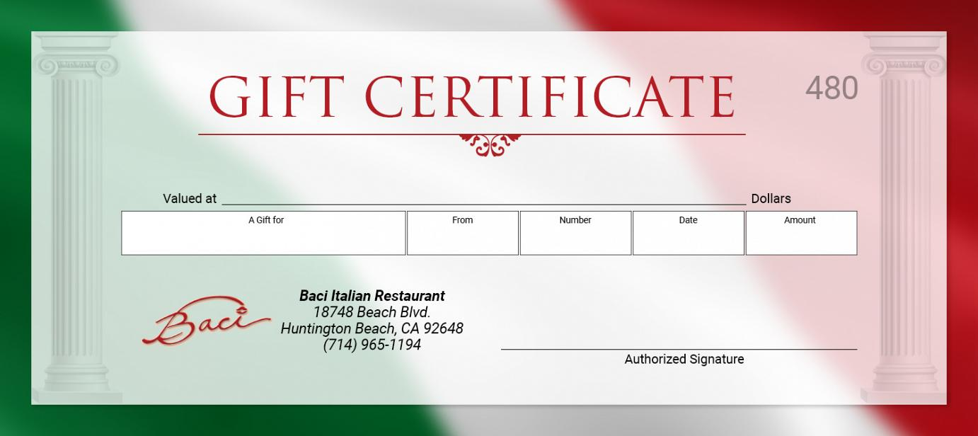 gift cards certificate