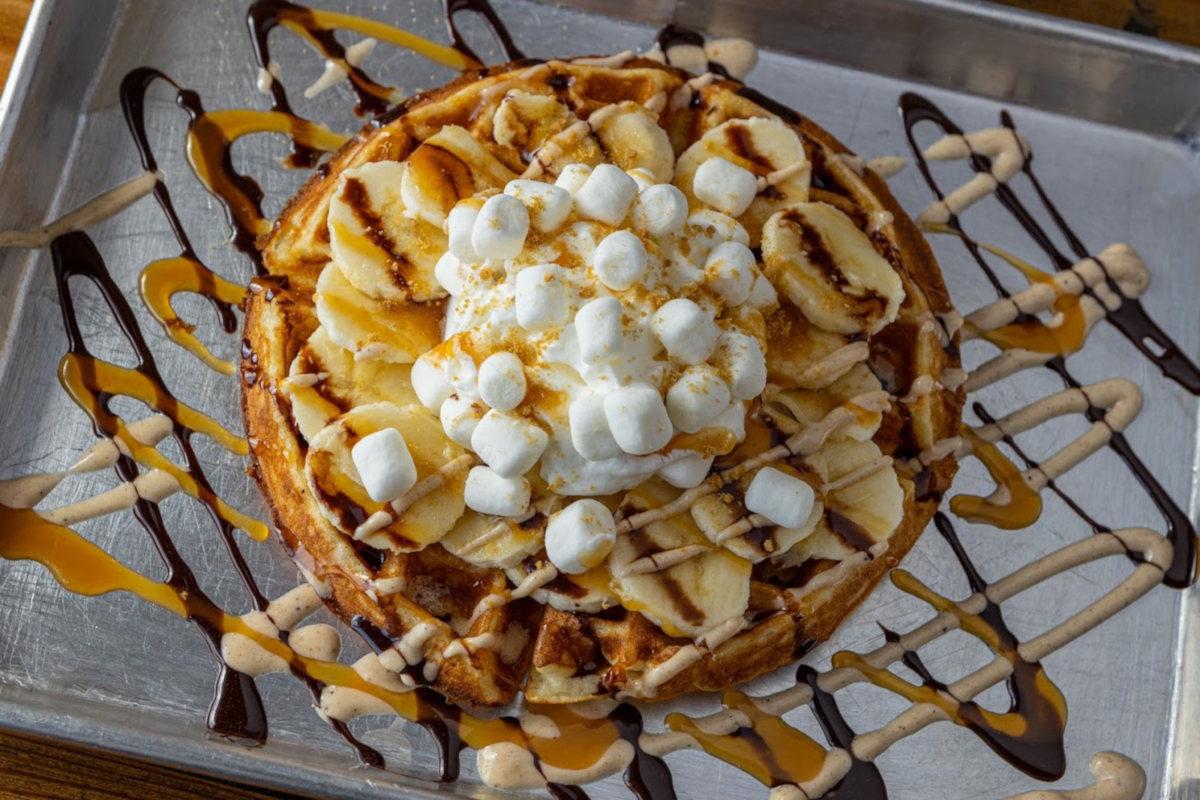 smores waffles top view
