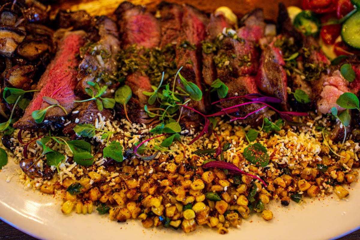 Grilled meat with vegetables and decorations
