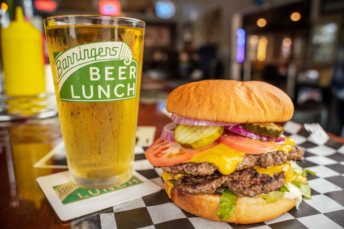 Burger, glass of beer on the side