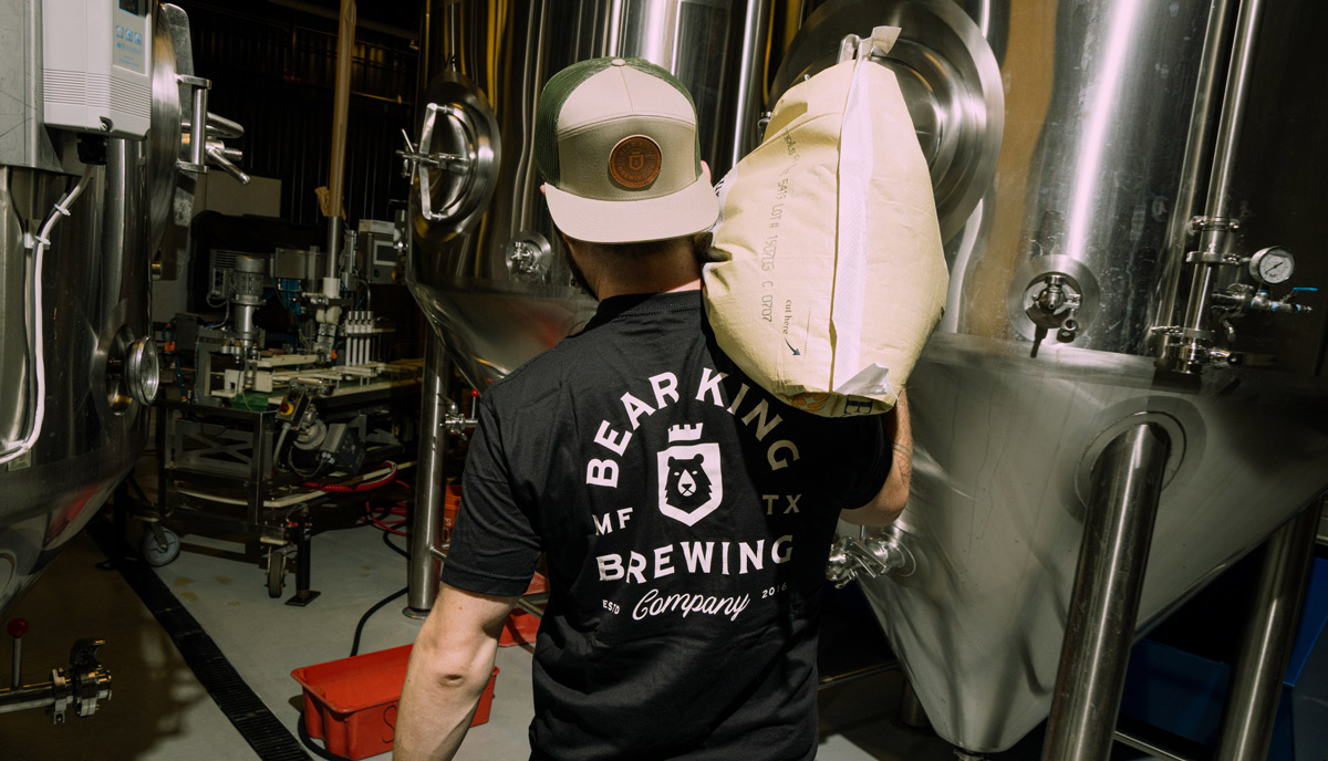 A staff member in the brewery
