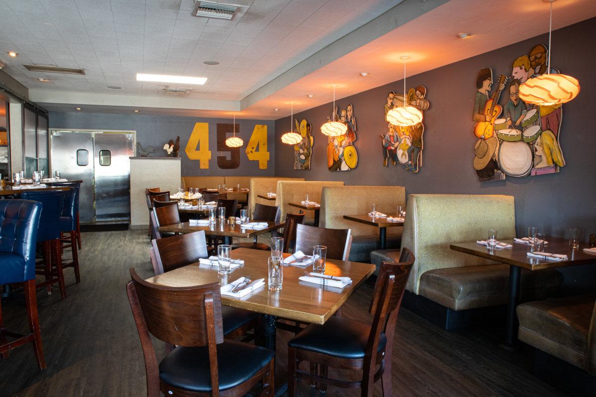 Restarant interior, tables lined up