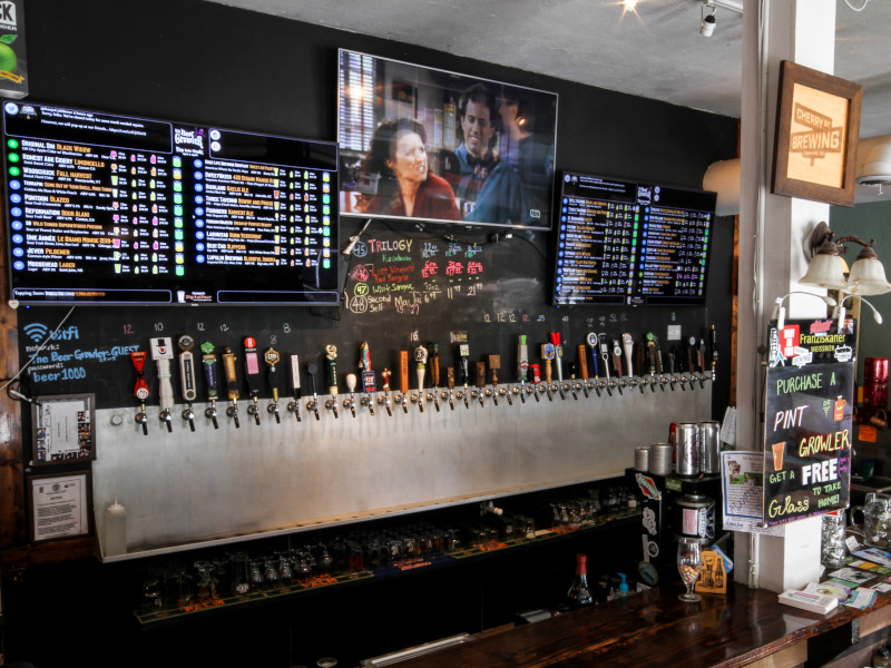 different beer taps, big TV screen