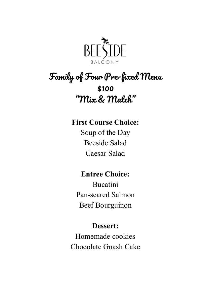 Beeside pre-fixed menu