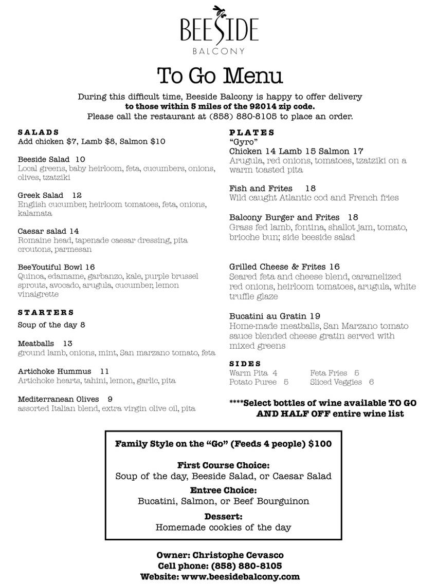 Beeside to go menu