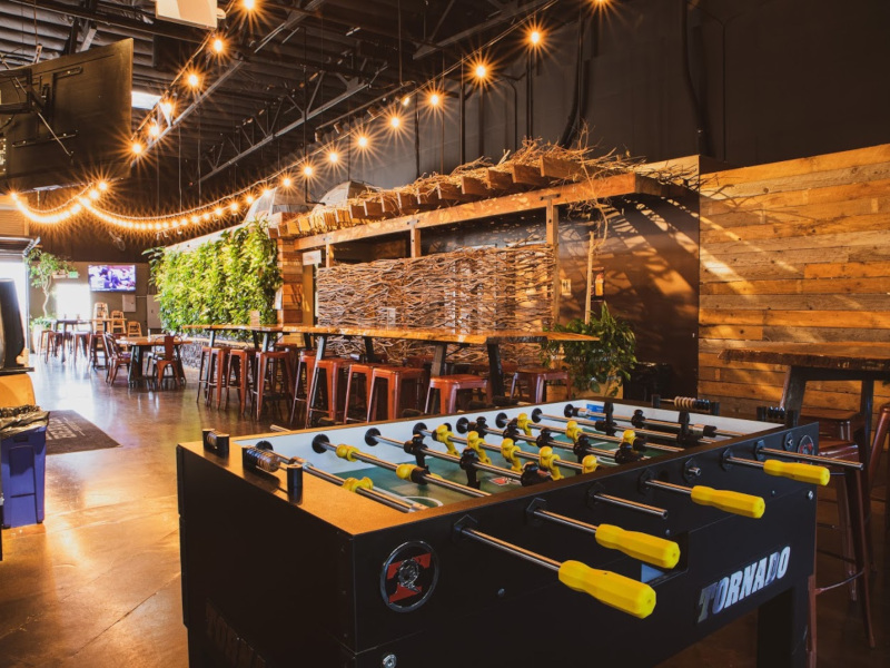 interior, foosball and sitting area