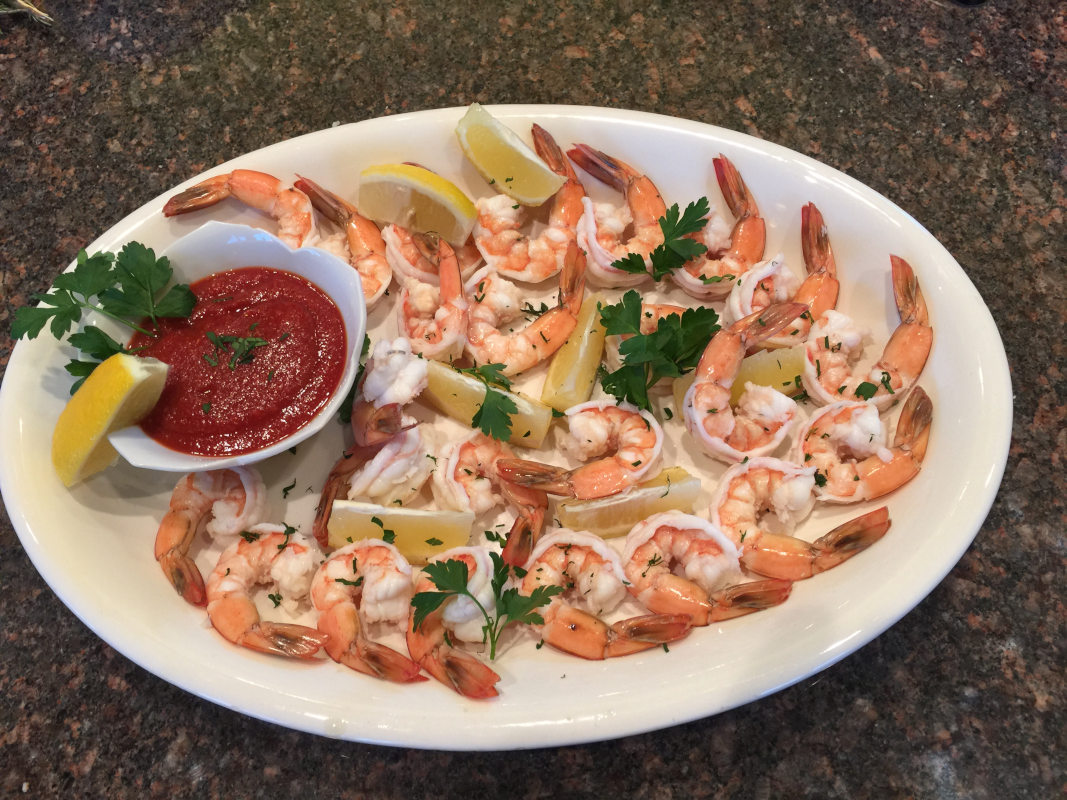 Shrimps and red dip on the side