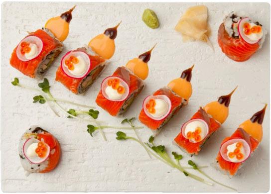 sushi, top view
