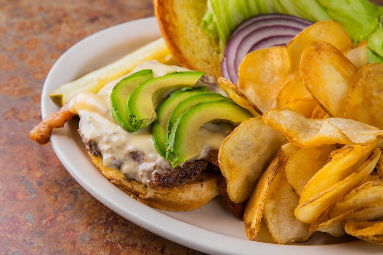 Opened burger closeup