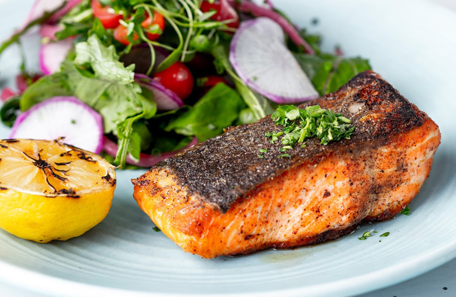 Ora King Salmon New Zealand, herb salad, choice of sauce