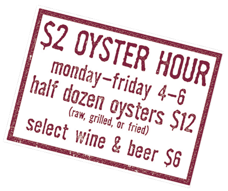 Oyster Hour menu flyer