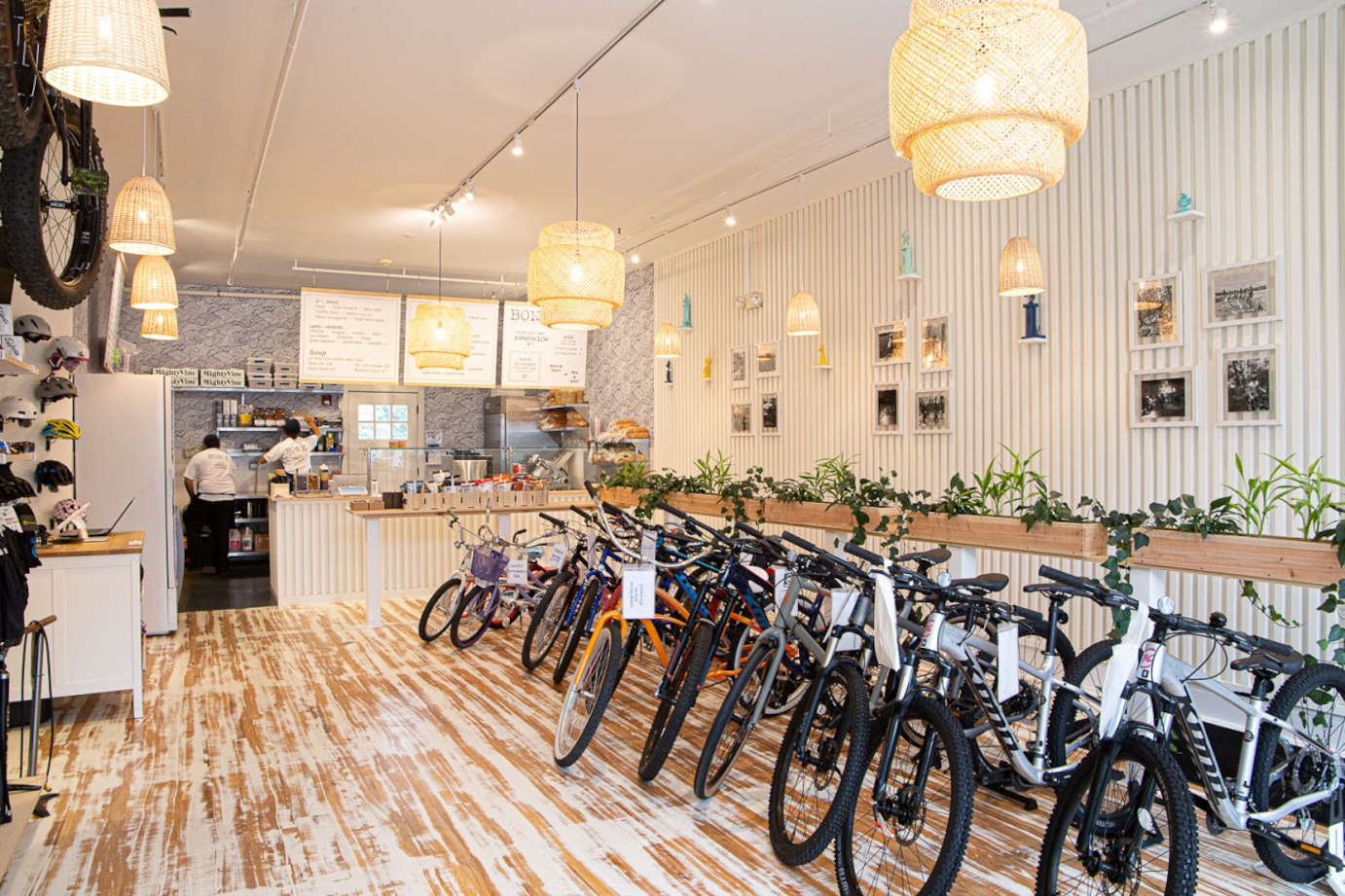 Interior, many bikes in a row