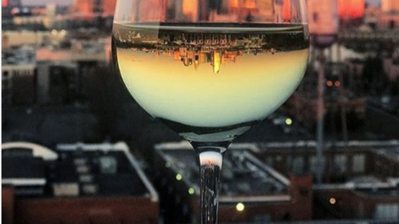 wine glass, sunset