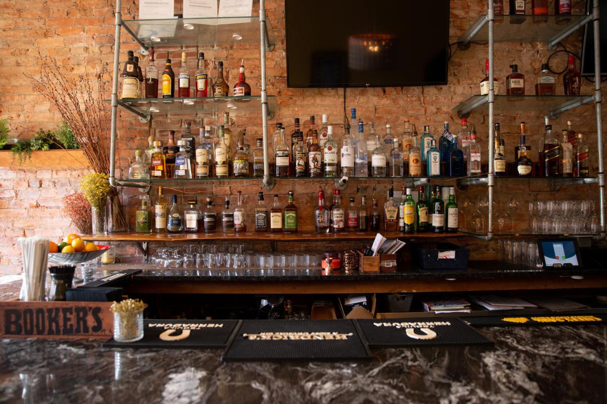 bar area, tv screens
