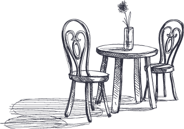 drawing of a table with chairs