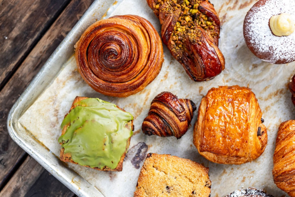 pastries on tray