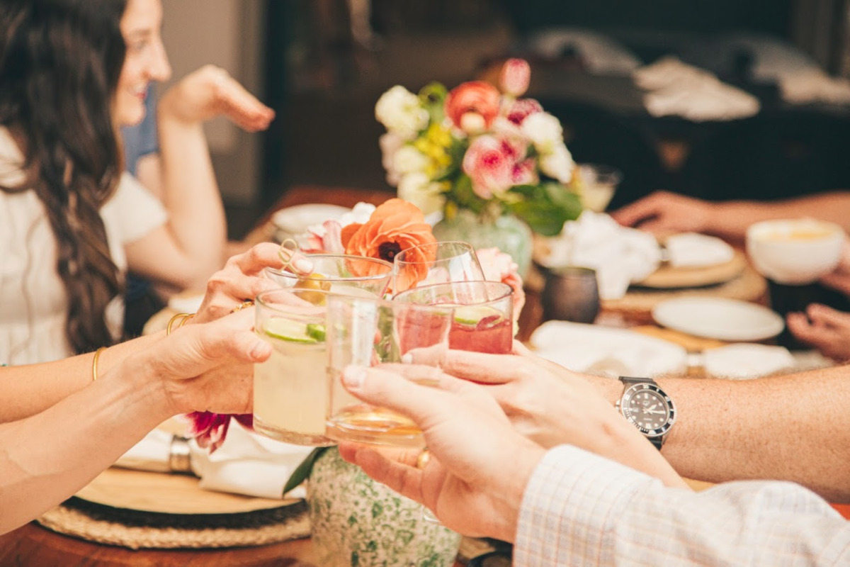 Guests drinking cocktails