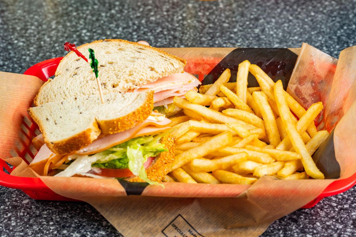 ham sandwich and fries