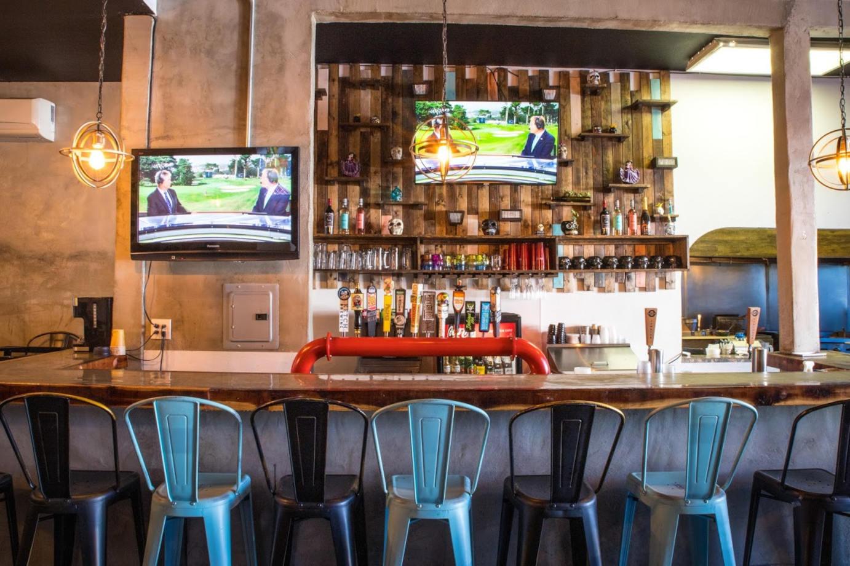 Bar area, beer taps