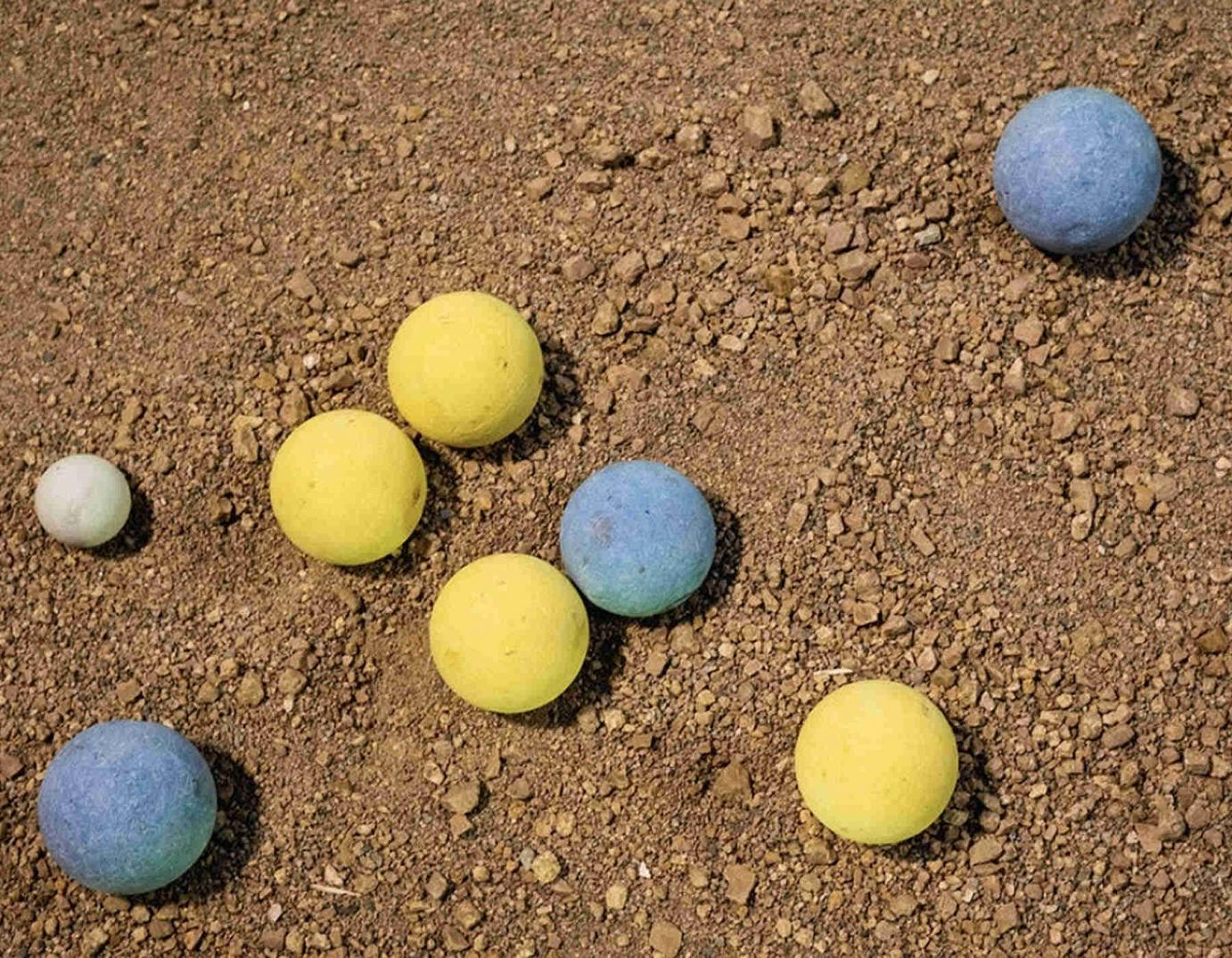 bocce balls on the ground