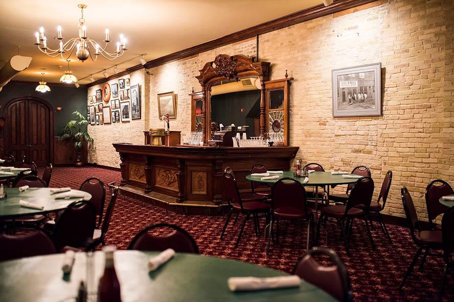 Restaurant interior with wall mirror