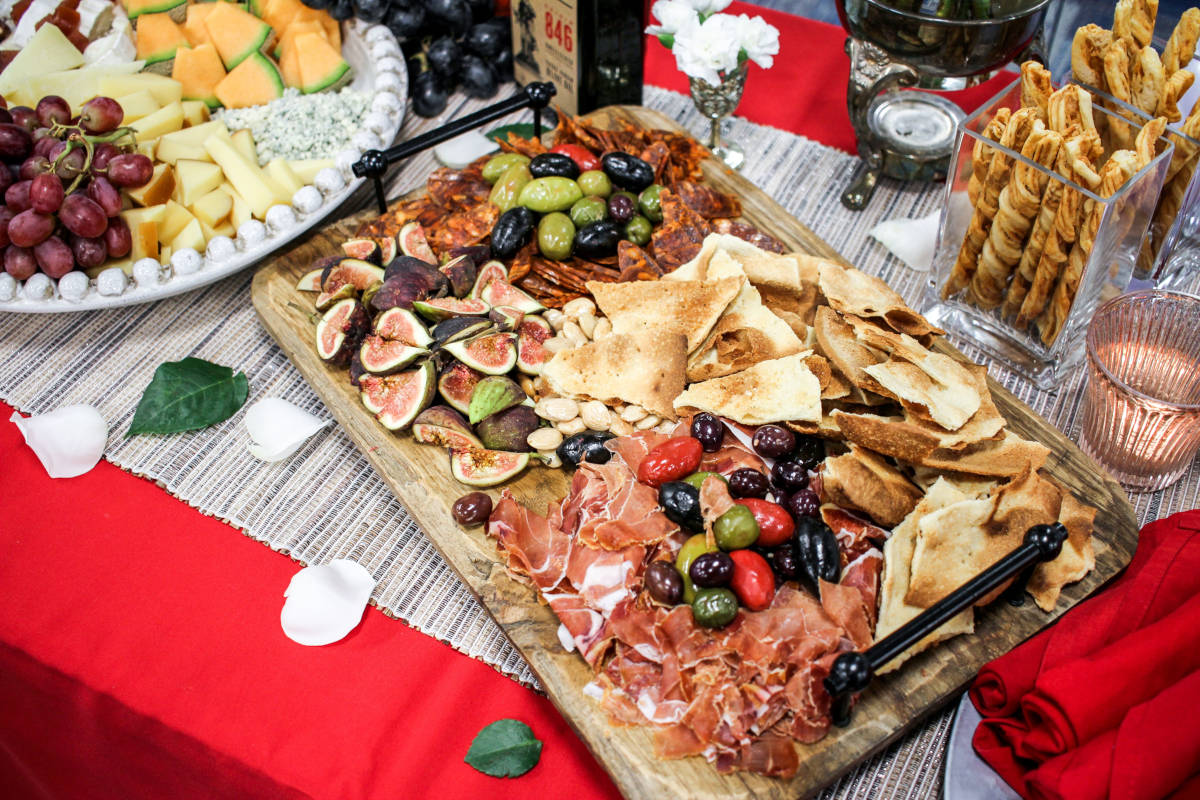 Different types of snacks and smoked meat