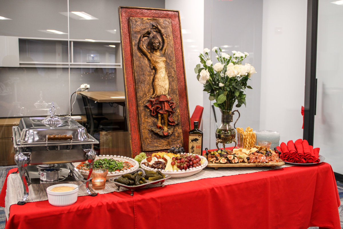 Interior, decorations, different types of food on the table