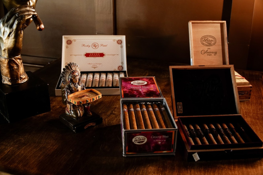 cigar boxes on the table
