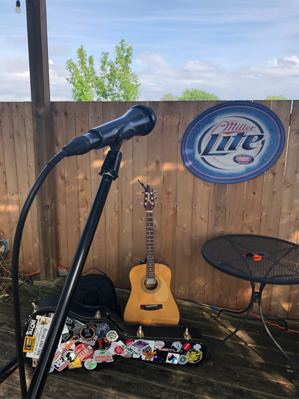 Guitar and mic on the stage