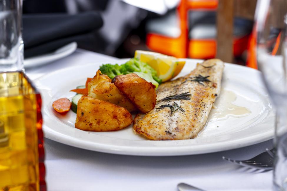 branzino, fish dish
