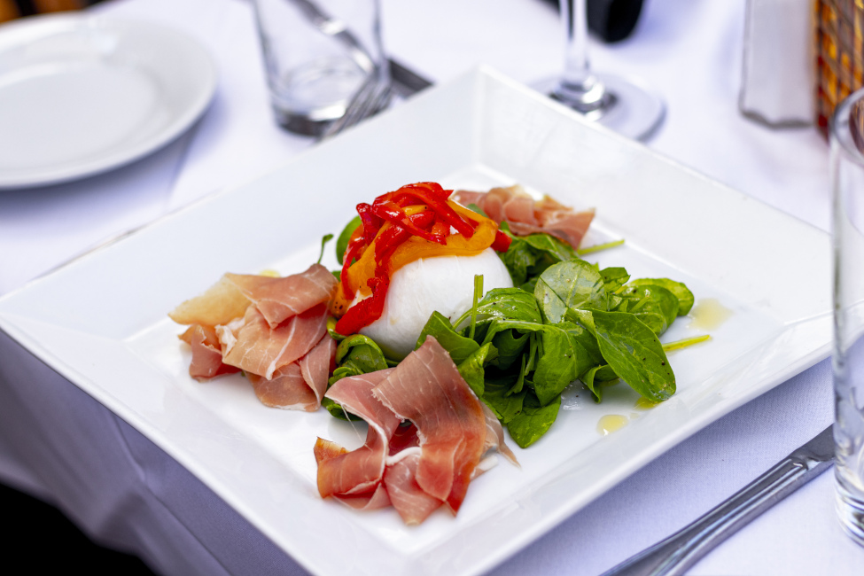 burrata and ham dish