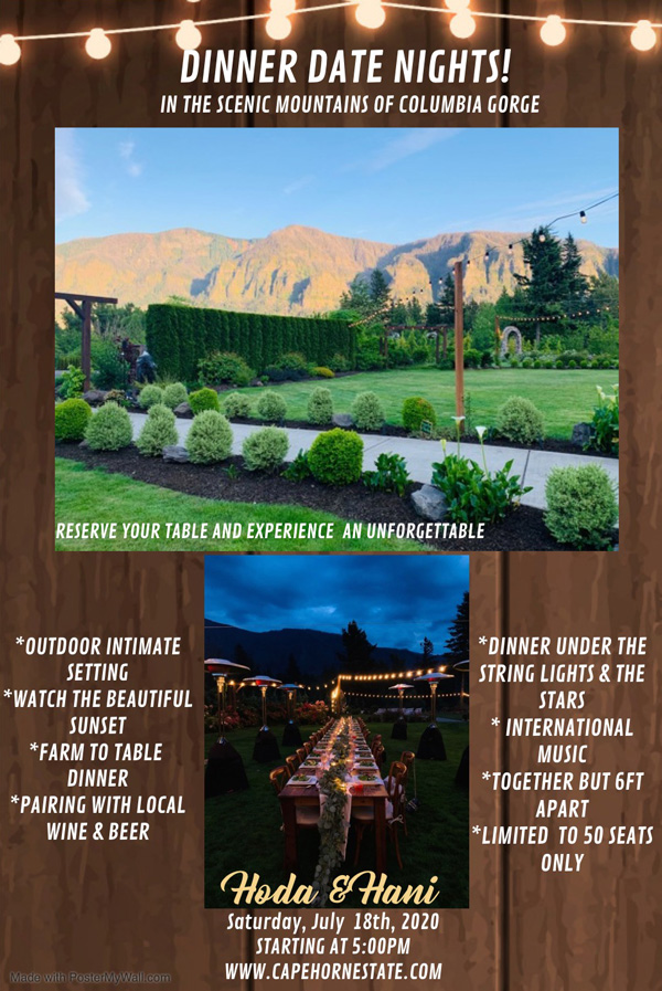 Farm to table dinner event flyer