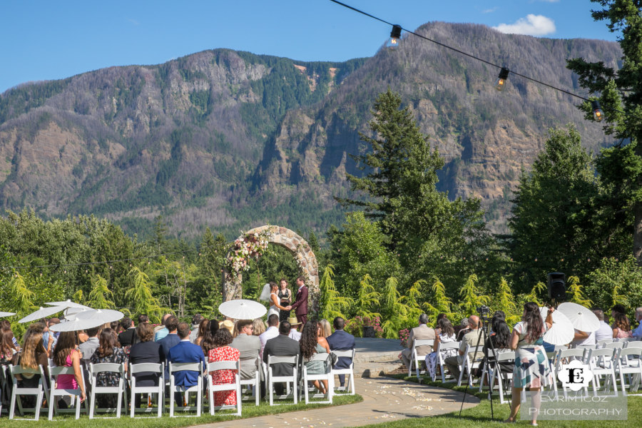 Exterior, during the wedding, view of the mountains