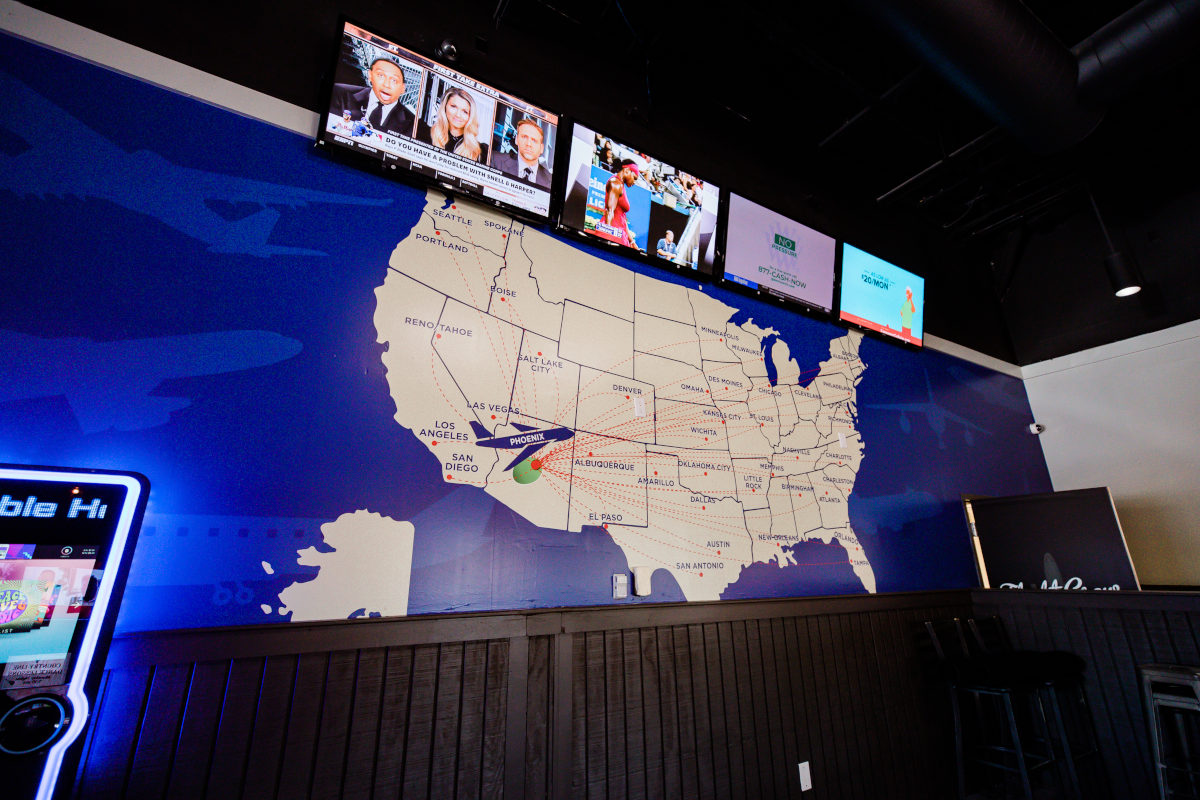 Interior, map of USA on the wall