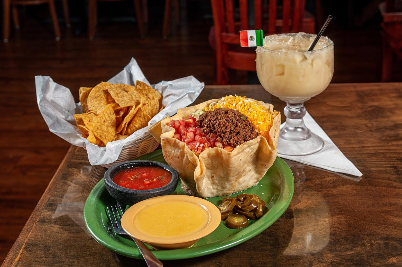 Burrito, nachos and margarita