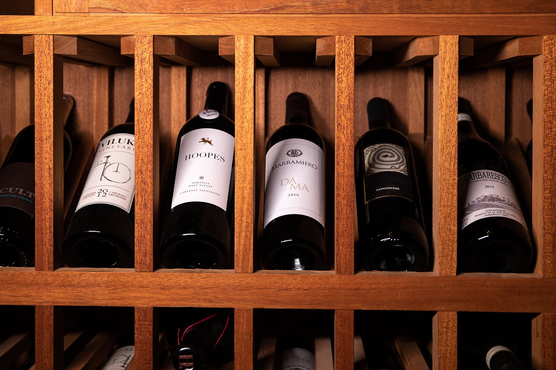 wine bottles shelf
