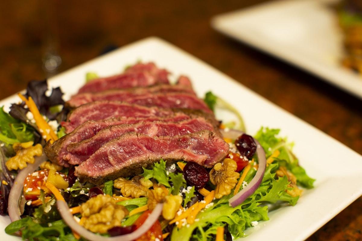 house salad with flatiron steak