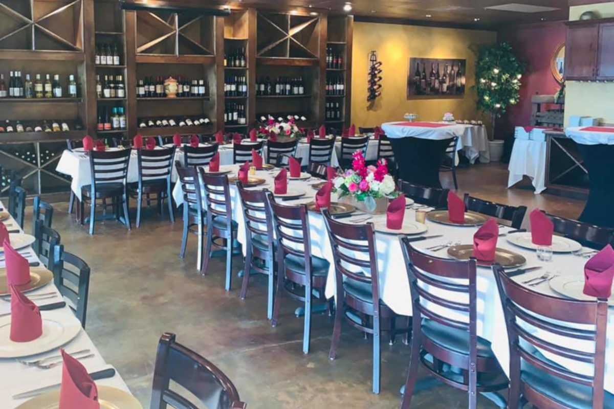 private party area, pink napkins, yellow plates