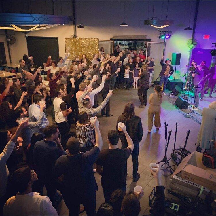 Concert, fans singing