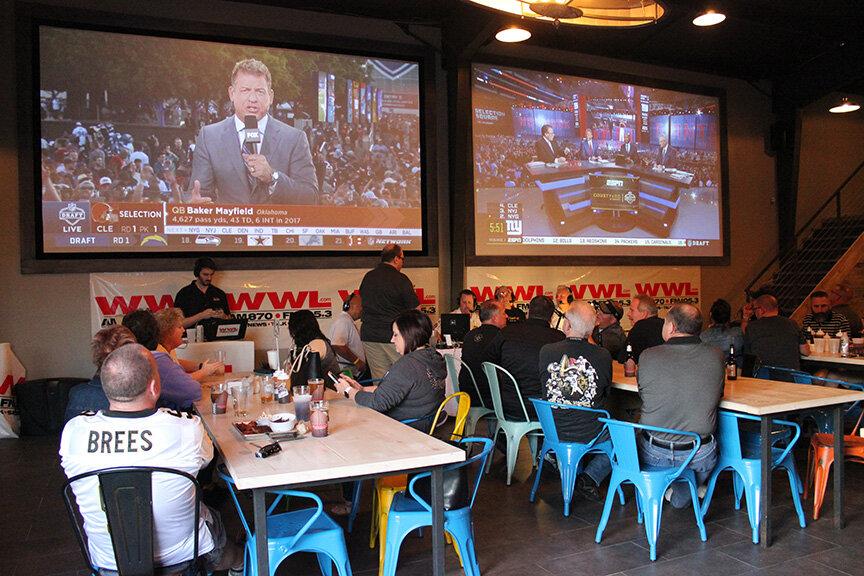 Big tv screens wide shot