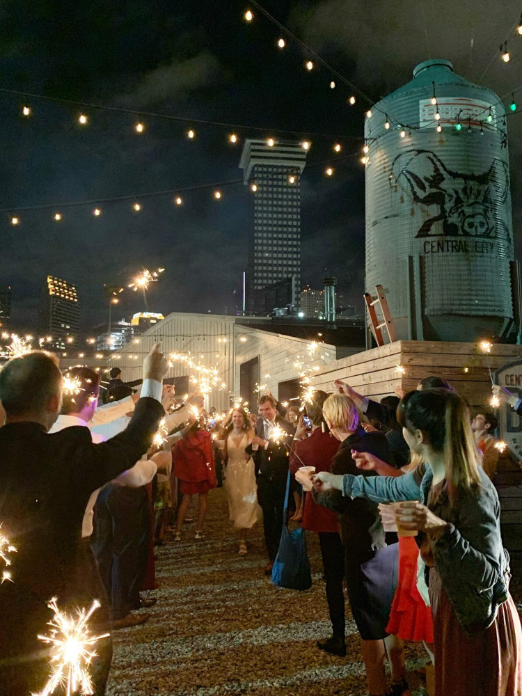Exterior at night, wedding celebration